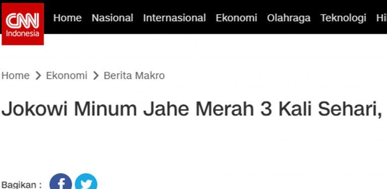 Jokowi minum jahe merah 3x sehari CNN